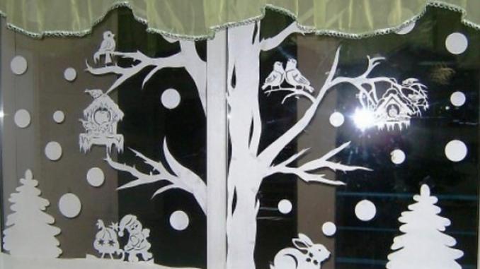 Украшаем окна к новому году из бумаги